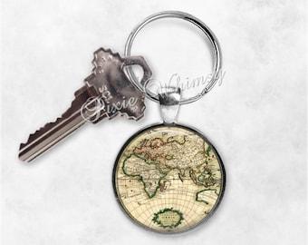 WORLD MAP Keychain, Map Keychain, Globe Keyring, Key Chain, World Map Keyring, Map Keychain, Map Keychain, Gift for Traveler, Wanderlust