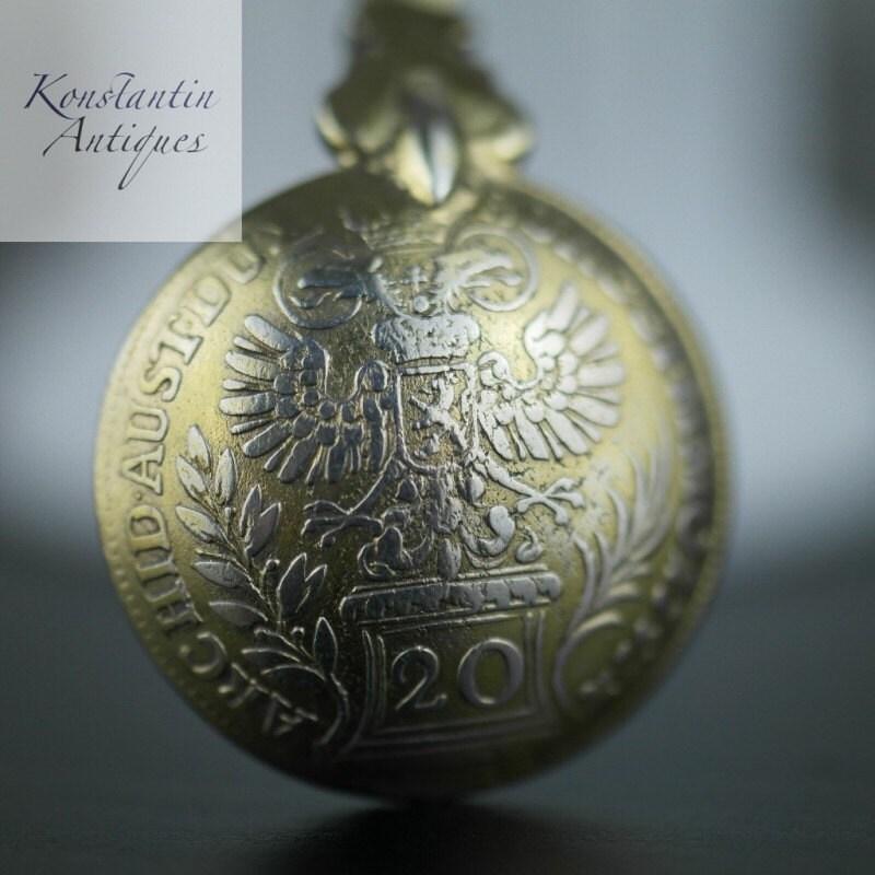 Antike 1757 Vergolden 20 Kreuzer Münze Silberlöffel Theresia