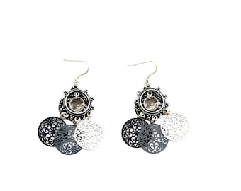 Chandelier earrings / Silver 925 / MULTISTRAND / Laser cut round black gray Rhodium