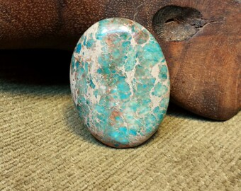 Natural Teal Blue Sediment Jasper Oval Bead ~ Drilled Lengthwise
