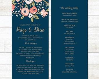 Floral Wedding Program, Navy and Gold Wedding Program, Wedding Program Printable, Custom Wedding Program, Boho Wedding Program