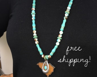 Turquoise (Faux) Beaded Necklace | Rusted Metal State Charm | Multiple States Available