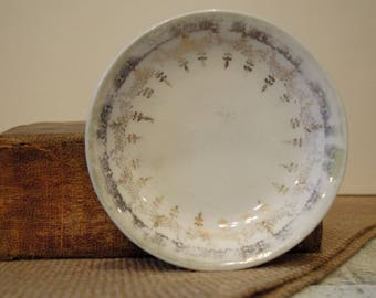 One Vintage Gold Transferware Butter Pat Dish / Individual Butter / Trinket Dish