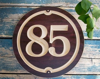 "10"" Round House Number, Classic House Number, Engraved Plaque, Housewarming Gift, Realtor Gift, Address Sign, House Number, carved wood sign"