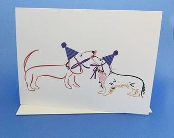 Dachshund Card Doxie Card Card Wiener Dog Card Dog Card Blank Birthday Card