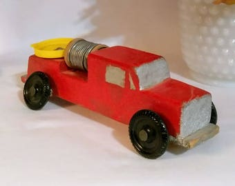 Vintage Toy Fire Truck, Red Fire Truck Hand Carved, Red, Silver, and Black Wheels, Collectible Handmade Red Fire Engine Truck, 1960's Boy