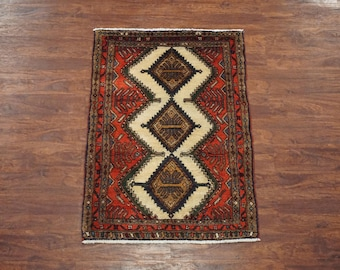 3X4 Persian Antique Sarab Karajeh Area Rug - 1940's Ivory Hand-Knotted Oriental Carpet (2.7 x 4)