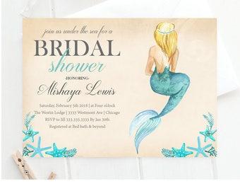 bridal shower invitation mermaid bridal shower invitation beach bridal shower seashell bridal shower