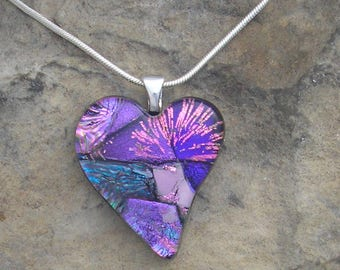 Pink and Purple Heart Pendant Fused Dichroic Glass Heart Necklace