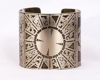 """2"""" Hellraiser Lament Puzzle Box  etched cuff bracelet"""