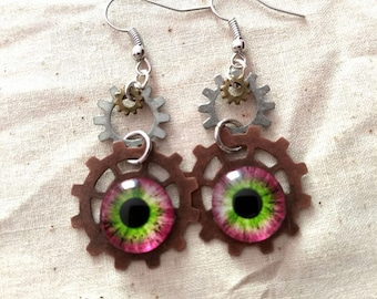 Pink/green eye earrings