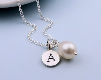 Freshwater Pearl Necklace For Bridesmaids Sterling Silver, Freshwater Pearl Charm Necklace With Initial, Personalized Bridesmaid Gifts