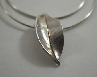 Precious metal clay leaf pendant