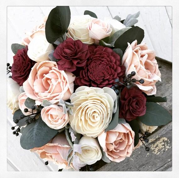 Sola flower bouquet burgundy sola wood flower wedding