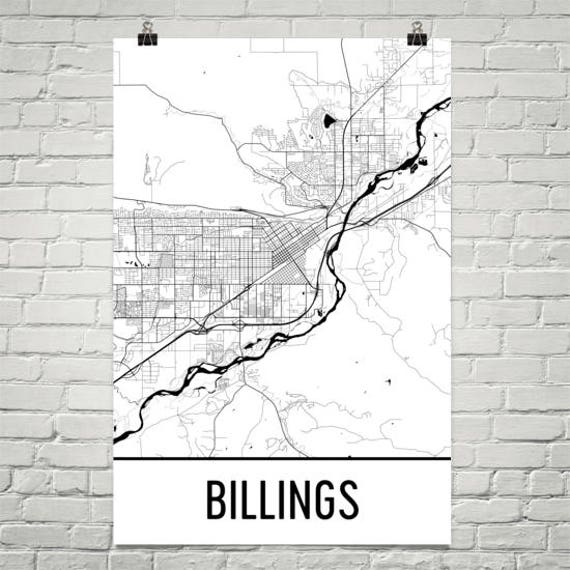 Billings Map Billings Art Billings Print Billings MT