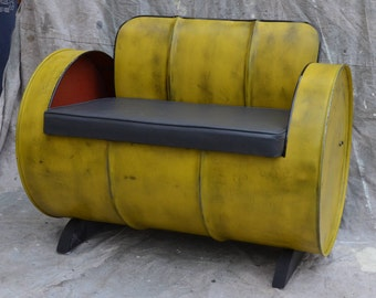 Industrial Furniture Barrel Chair Distressed Yellow w/gray Vinyl padded seat