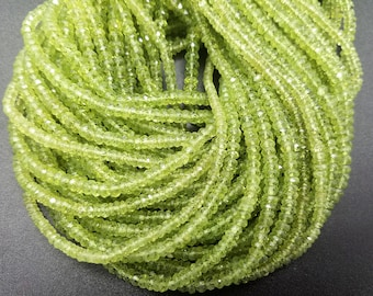 4mm Peridot Faceted Rondelles (L3) AAA Grade, 14 inch