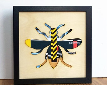 Manchester Bee Gift, Hacienda Manchester Bee, Bee Print, Manchester gift, Manchester wall art, plywood laser cut sign