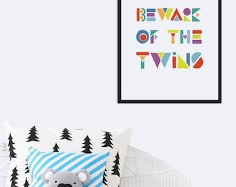 Twins Baby Gifts, Twins Nursery Art Printable, Beware of the Twins Room Decor Scandinavian Nursery Decor Kids Wall Art Twins Print Geometric
