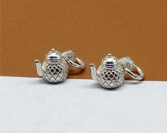 5 Sterling Silver Teapot Charm, 925 Silver Teapot Charm, Tea Pot Charm 3D for Bracelet Necklace - JH86