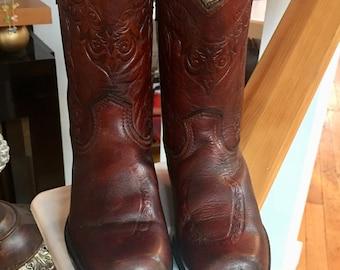 Children's Western Vintage Brown Leather Cowboy Boots Size 12 D