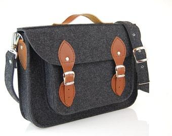 Felt satchel, Laptop bag, sleeve, Macbook 11 13 15 17inch, Casual bag, Shoulder bag, computer bag, gift engraving, personalization
