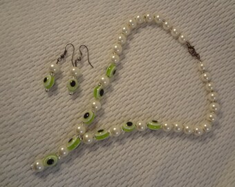 Dainty Faux Pearl and Lime Green Nazar Necklace and Earring Set - F001