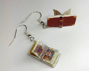Old book mini antique books Jewelry Earrings earrings