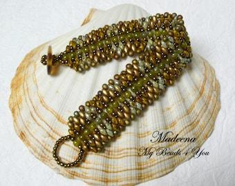 SuperDuo Beaded Bracelet, Beadwork Bracelet, Cuff Bracelet, Seed Bead Bracelet, Beadwoven, Embellished Bracelet, Jewelry Gift, SuperDuo