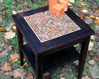 Charmant Mosaic End Table. Tile Mosaic End Table. Rustic Side Table W/ Shelf.