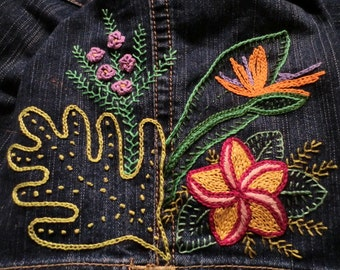 Almost INSTANT download Kauai FLOWER POWER in Crewel and Brazilian Embroidery