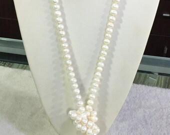 Long pearl necklace, 60 inches 9-10mm, Freshwater Pearl Necklace, white freshwater Pearl necklace