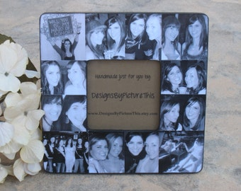 "Maid of Honor Collage Picture Frame, Unique Sister Gift, Custom Collage Bridesmaid Frame, Personalized Parent, Best Friend Gift, 8"" x 8"""