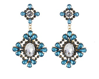 Exotic vintage style crystal rhinestone earrings LARGE in turquoise also red-blue