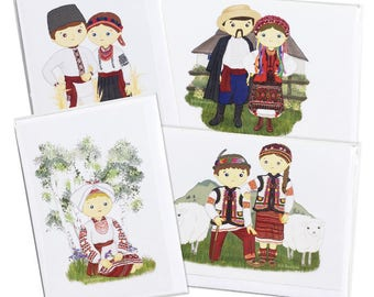 4 Pack of Cards- Traditional Ukrainian Folk Clothing Couples Blank Greeting Cards - Illustrations by Adrianna Bamber - Embroidered shirts