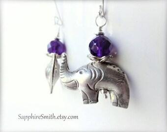 30% off PACHYDERMS Elephant Earrings, African Violet Purple Amethyst & Karen Hill Tribe Fine Silver Elephant Earrings, tribal style