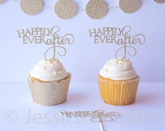 Gold Cupcake Toppers - Bridal Shower Cupcake Toppers - Engagement Cupcake Toppers - Wedding Decor - Gold Glitter Party Decor