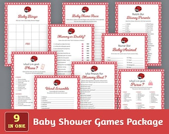 Baby Shower Games Package, Party Games Bundle, Fun Baby Shower Games Set, Red Ladybug, Unique Games Pack, Instant Download, SPKG, B013