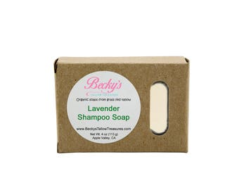 ORGANIC Grass Fed Tallow Soap -- Lavender -- Tallow Shampoo Bar -- Organic Shampoo -- Tallow Soap -- 4oz