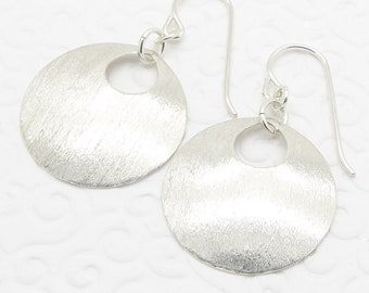 Silver Disc Earrings with Textured Sterling Round Disks