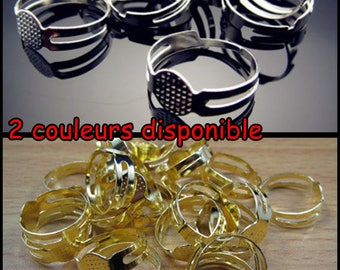 COLOR choices: silver or Gold - Support ring 8mm silver metal - silvery ring 8mm gold tone clay smoke or stick