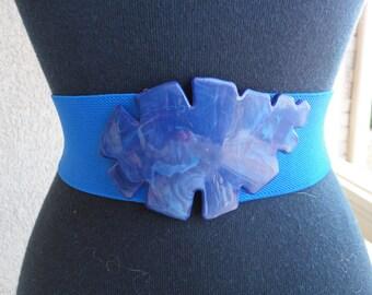 Navy Blue Belt With Leaf Shaped Buckle
