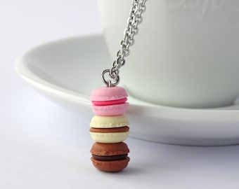 Cute stacked pastel pink vanille chocolate macaron necklace kawaii miniature food charm necklace macarons pendant