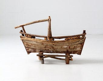 folk art boat, vintage wood boat sculpture