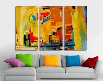 3 Panel Canvas Split, Modern Abstract painting fine art giclee print, room decoration, Interior design, Room Decoration, Photo gift