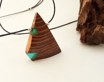 Wood and resin necklace,Resin and wood pendant,Wooden pendant,Resin pendant,Modern minimalistic necklace,Modern pendant,Modern necklace
