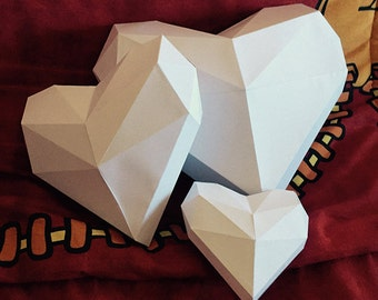 Make Your Paper Hearts Decorations from for Valentine's Day, Polygon Shape DIY Christmas Papercraft