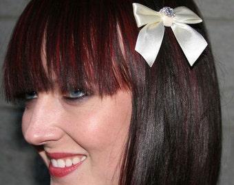 Cream Bow Barrette With Swarovski Crystals And Velvet Ribbon Center