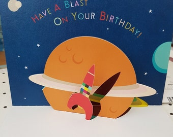 3D Outer Space Pop Up  Birthday Card, Blast into space pop up Birthday card, One piece fold design art Birthday Card, Planets Birthday Card