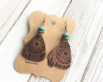 Copper Etched Dreamcatcher Earrings, Etched Earrings